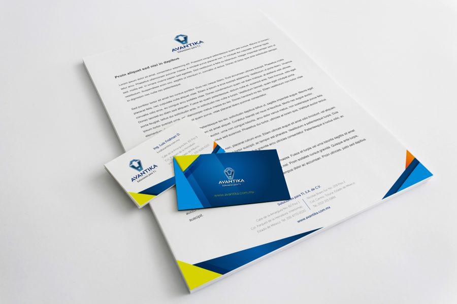 Avantika. Diseño de papelería corporativa.