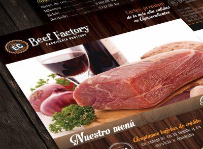 Beef Factory. Diseño de logotipo y papelería.. Diseño de identidad corporativa. Soto Comunicación