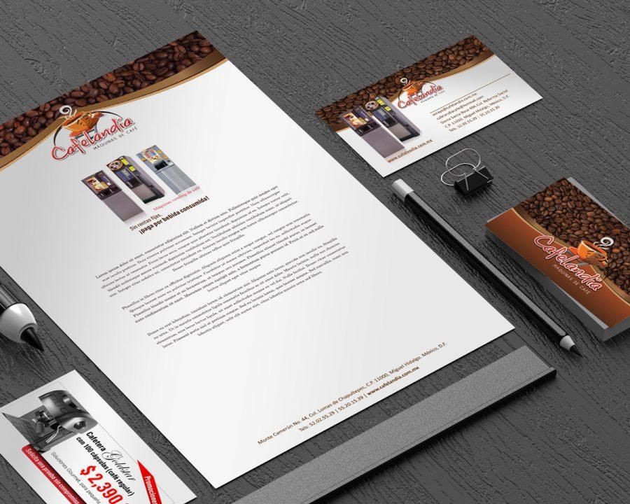 Cafelandia. Diseño de logotipo y papelería.