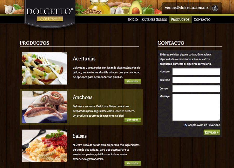 Dolcetto. Diseño y programación de sitio web.