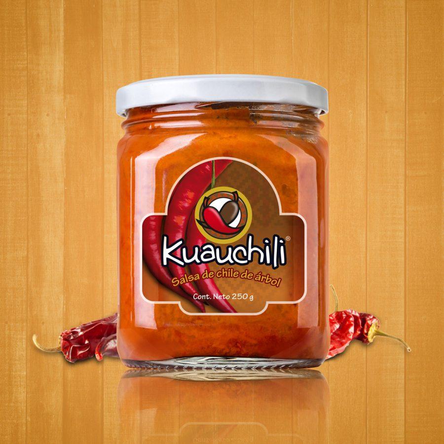 Kuauchili, salsa de chile de árbol. Diseño de etiqueta.