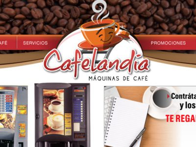 Cafelandia. Diseño de sitio web.