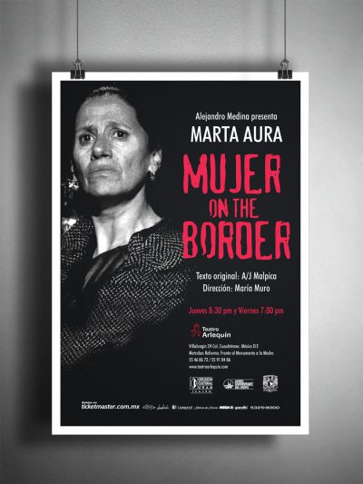 Mujer on the border. Diseño de cartel publicitario.