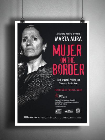 Mujer on the border. Diseño de cartel publicitario.