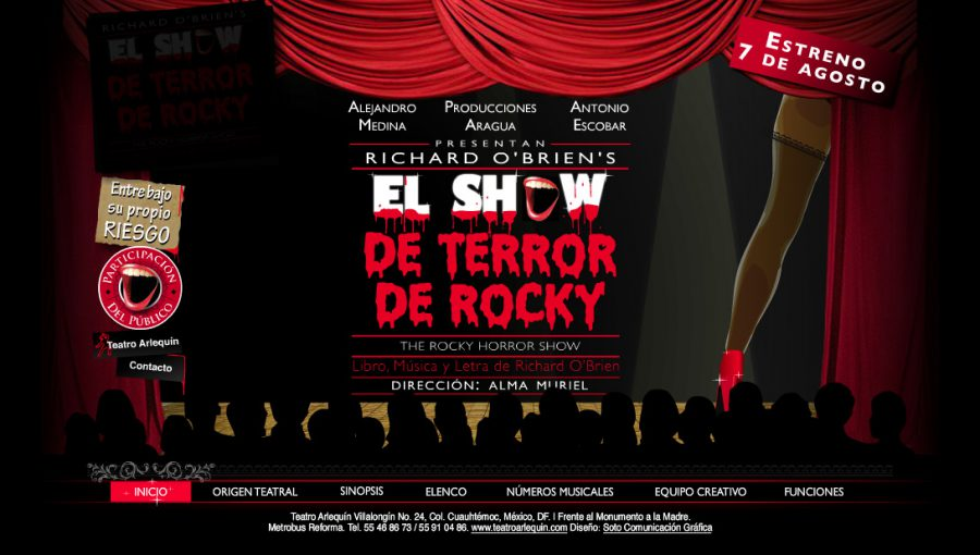 El show de terror de Rocky Mexico 2009. Diseño y animacion de sitio web