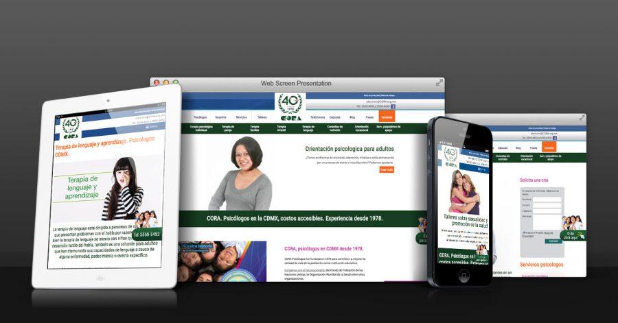 CORA. Diseño y programación de sitio web responsivo con SEO.