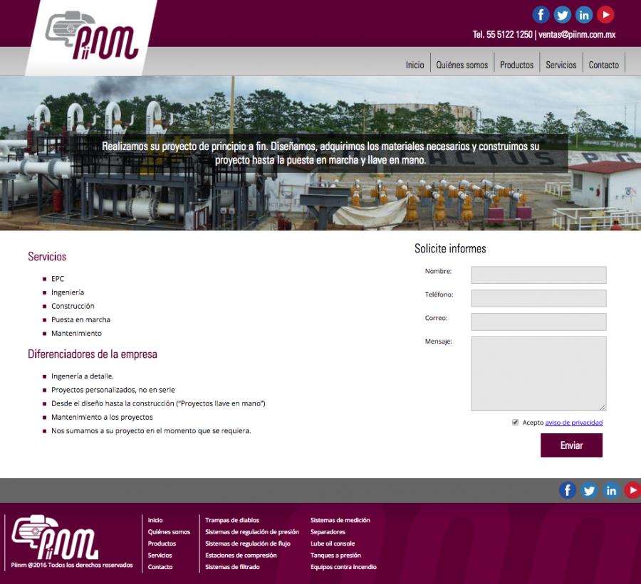 Piinm. Diseño de sitio web.