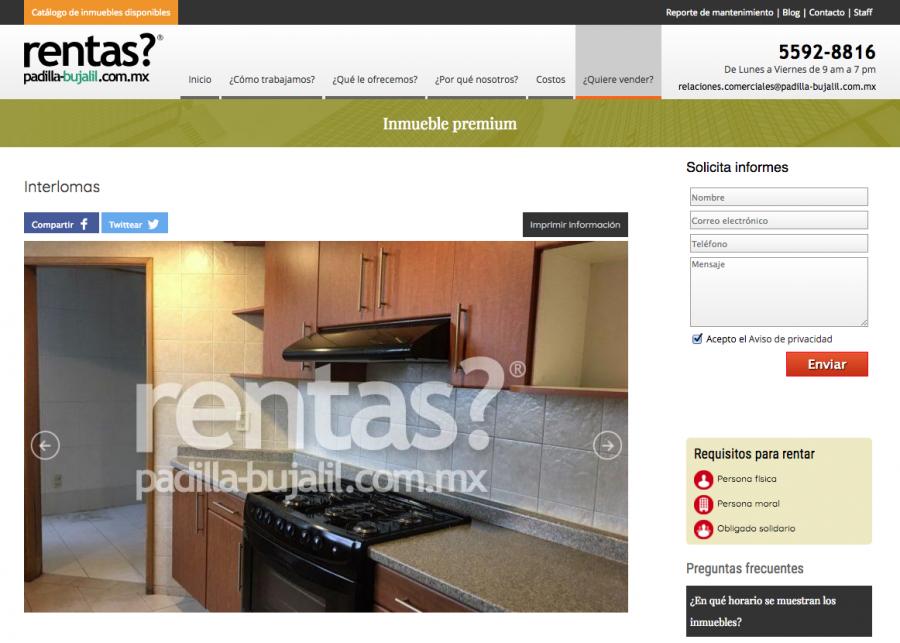 rentas? Diseño de sitio web.