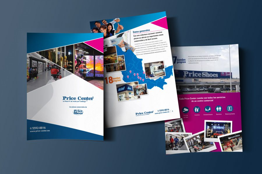 Price Center. Diseño de folleto de ventas.