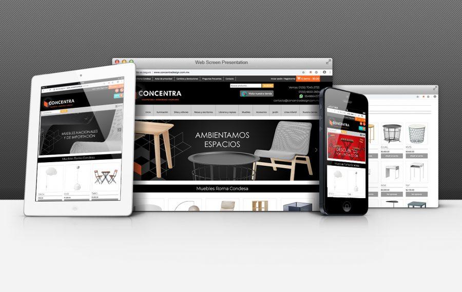 Concentra Design. Diseño de tienda en línea.