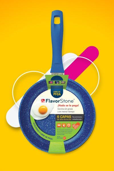 FlavorStone. Diseño de fajillas para sartenes en punto de venta.