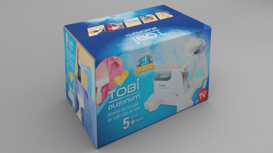 Tobi, plancha de vapor. Diseño de caja.
