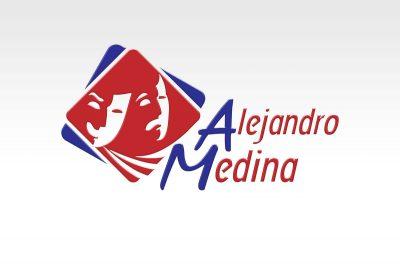 Alejandro Medina, productor de teatro. Diseño de logotipo.. Diseño de identidad corporativa. Soto Comunicación