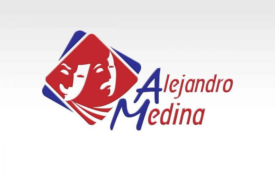 Alejandro Medina, productor de teatro. Diseño de logotipo.